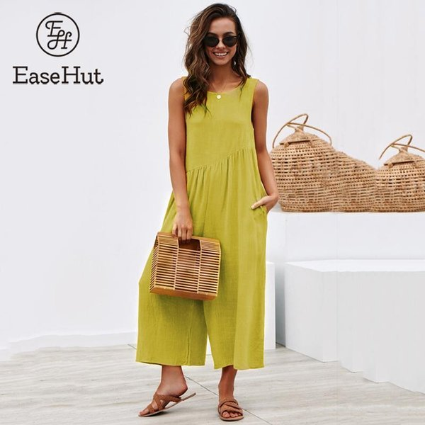 EaseHut Solid Sleeveless Back Hollow Out Overalls Jumpsuit for Women Side Pockets High Waist Wide Leg Rompers Womens Jumpsuit