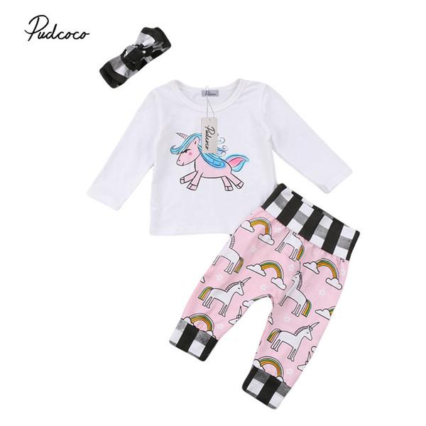 Yeni Stil Sevimli Unicorn Çocuk Bebek Kız Giyim Uzun T gömlek + Pant + headdress 3adet Kıyafetler Pamuk Bebek Giyim Set Tops