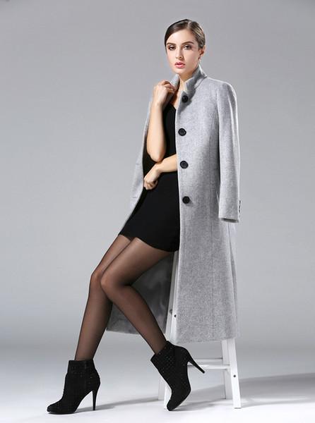 Sonbahar Kış 2018 Yeni Moda kadın Yün Ceket Kruvaze Ceket Zarif Bodycon Koza Yün Uzun Tops