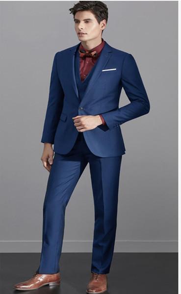 86e8c22ced95 Navy Blue Men s Suit 2 Pieces Business Suits Wedding Suits Slim Fit For Men  Single