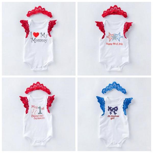 Abbigliamento per bambini Pagliaccetti estivi per bambini Abito per bambini Lettera Stampa Pagliaccetto Set di fasce Toldder Pagliaccetti senza maniche per cartoni animati Pagliaccetto in cotone LT358