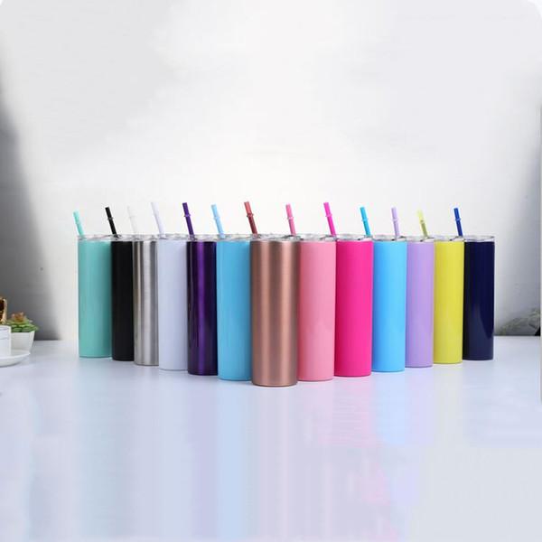 Acero vaso delgado Vasos inoxidable con tapas de colores de vacío pajas aislado rectas Copa del agua de botella cerveza taza de café 13 colores 007