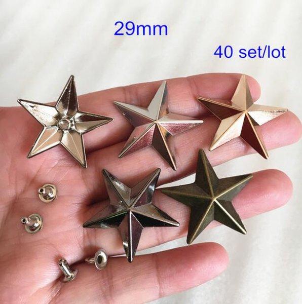 40 set of 29mm Large Star Cap Metal Rivets Studs For Leather Crafts,Punk Rock Star Rivet Spike,Silver /Gold / Bronze / Black