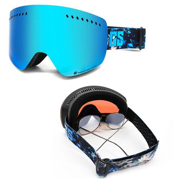 Gsou neige lunettes de ski pour les hommes et les femmes adultes Ski Lunettes Cylindre Double Couche Anti Brouillard simple