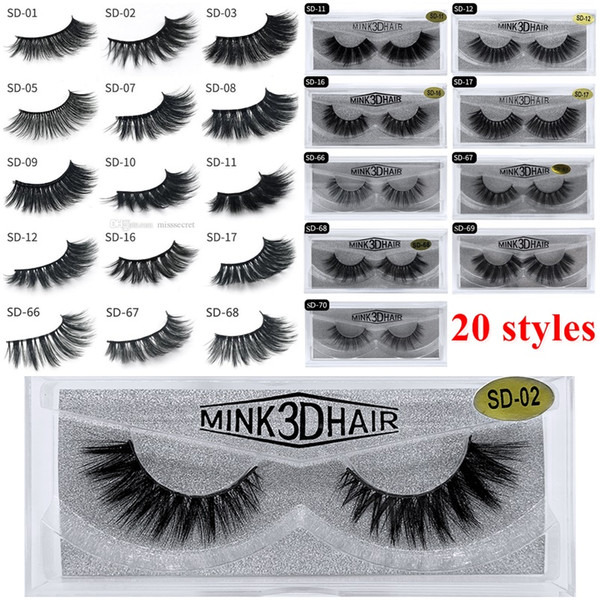 best selling 3D Mink Eyelashes Eyelash 3D Eye makeup Mink False lashes Soft Natural Thick Fake Eyelashes Lashes Extension Beauty Tools 20 styles DHL Free