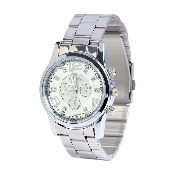 Multicolor Calendario Business Diamond Studded Three Eyes Set Reloj de cuarzo Reloj de pulsera de acero inoxidable para mujer