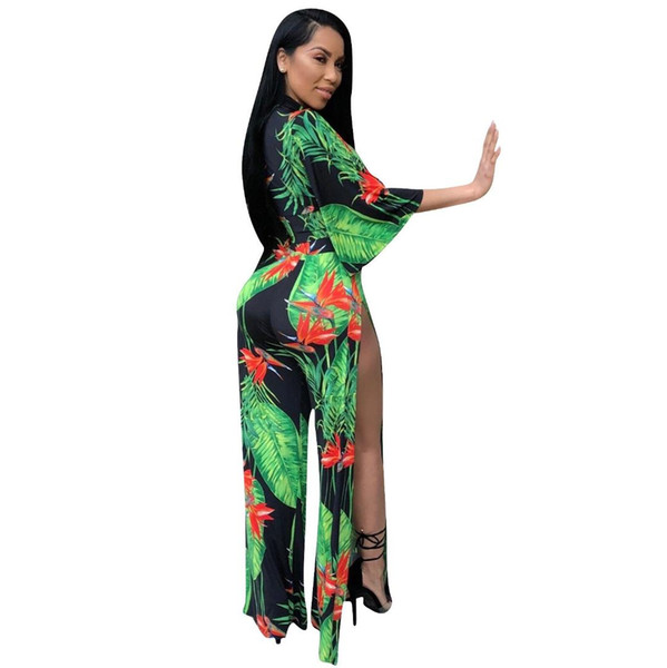 Women Sexy V Neck Two Piece Set Bow Flare Sleeve Crop Top And Side Split Long Pants Floral Printed Suits Bohemian Outfits