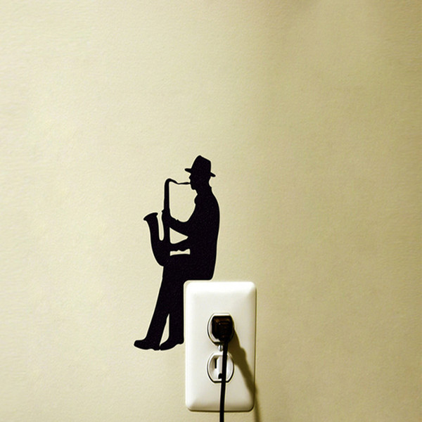 Interruptor creativo Etiqueta de la pared Un hombre está tocando saxofón silueta vinilo pegatinas para computadoras portátiles Windows calcomanías decoración de la habitación