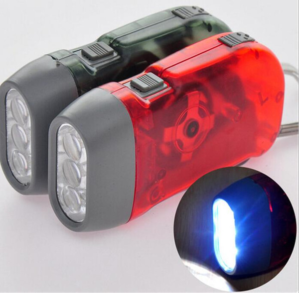 Hand Pressing generate electricity 3 LED Crank Power Dynamo Wind Up Flashlight Torch Night Lamp Light Camping Outdoor Sports Tool Gear