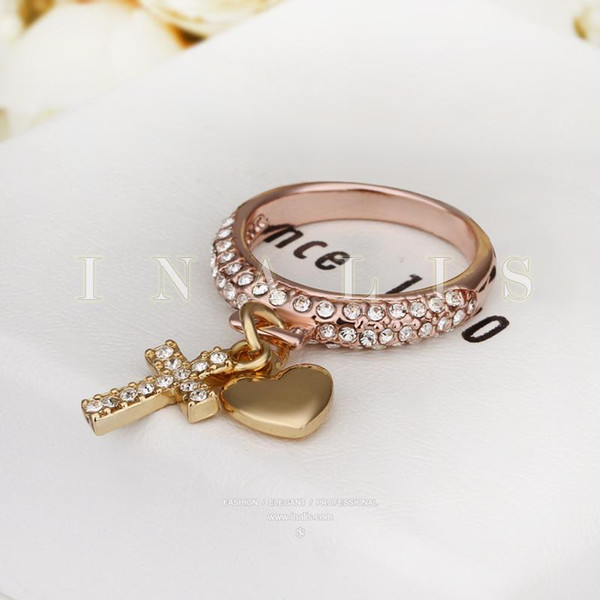 Anneaux de coeur Beautifully Rose Gold Filled Wedding Brands Chine Wholesale 18K Gold Diamond Bagues de Fiançailles De Mode Bijoux Cross Diamond Bagues