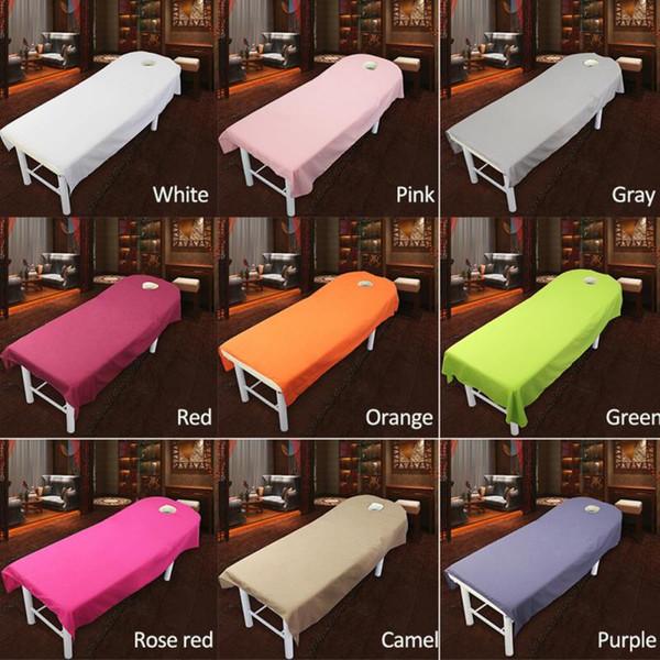 Feuilles de salon de beauté SPA feuilles de recouvrement de table de lit de traitement de massage avec trou 9 couleurs à choisir