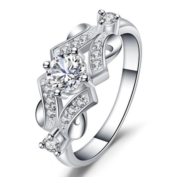 2018 NOVA Moda Jóias Anel Elegante Para As Mulheres Noivado de Casamento Feminino Prata Branco Zircon Anéis de Design de Jóias de Luxo