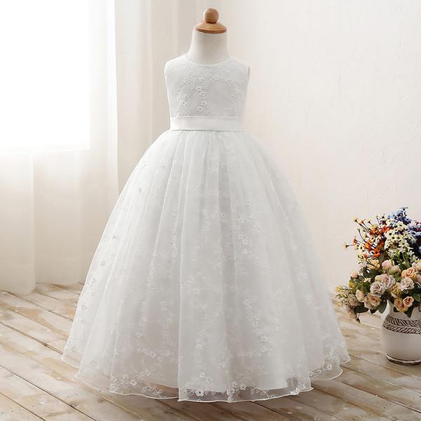 Bambini ragazze ricamato pizzo fiore Tulle abiti da ballo abito da sera da sposa bambini estate senza maniche partito prom abiti da principessa vestiti