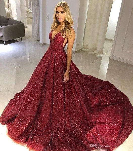 Plus Size Red Evening Dresses A Line V Neck Sequins Beads Floor Length Women Pageant Gowns Celebrity Prom Quinceanera Wears BC0714