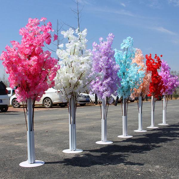 2 шт. 1.5 м Искусственные цветы Cherry Blossom Road Ведет из Кованого Железа Арочные Полки Свадебные Украшения Путь Цветочные Украшения Фон