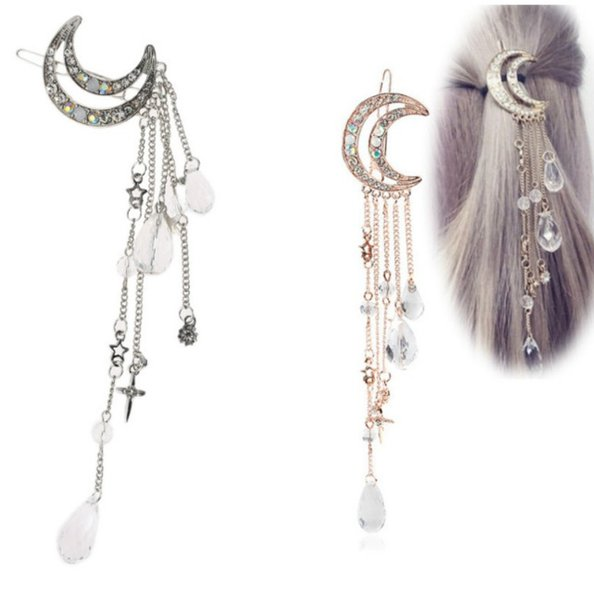 Crescent Moon Hair Clip Shinning Tassel Crystal Waterdrop Hair Accessories for Her Barrettes Womens Gift Ideas for Her