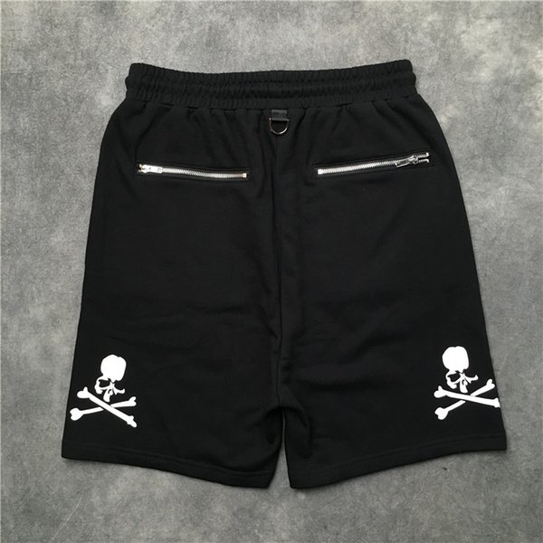 2019 Top Quality Mastermind Japão Esqueleto de Impressão muitos homens com zíper de Bolso shorts Hip hop MMJ cordão suor calções