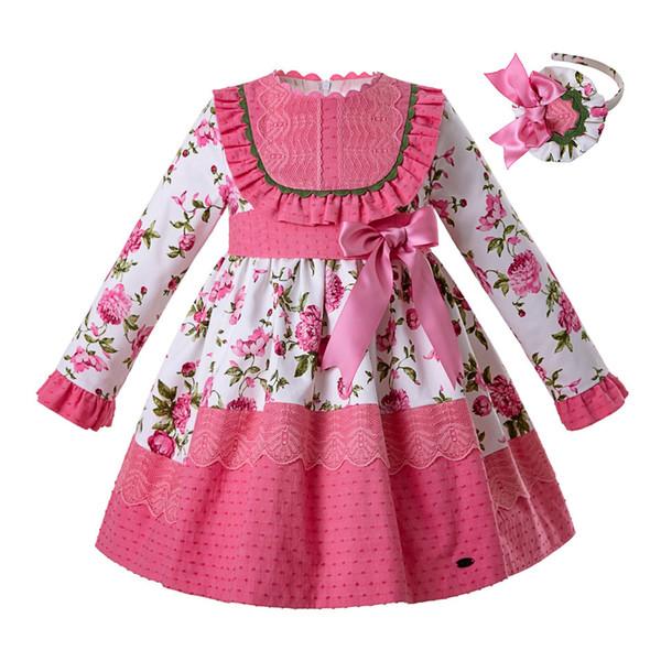 Pettigirl 2019 Dernière Vintage Rose Fleur Princesse Dress Party Bébé Fille Dress Kids Designer Robes Filles Avec Bandeau G-DMGD110-B450