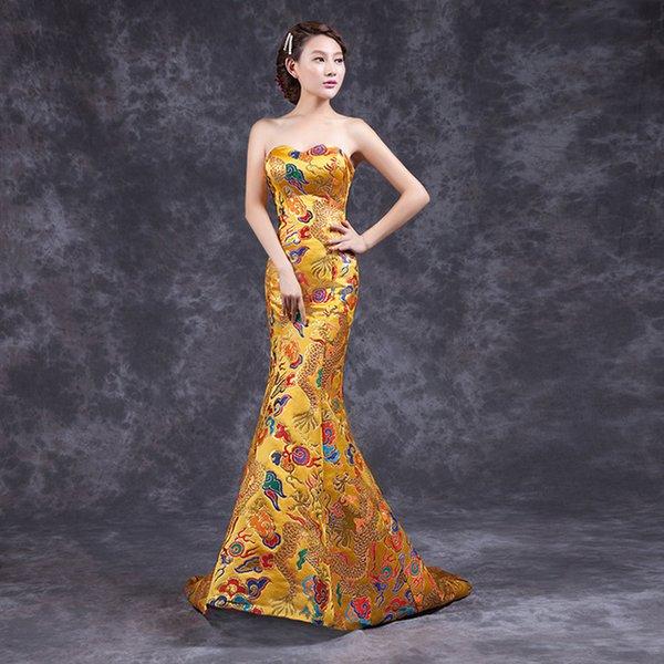 Fashion Yellow Cheongsam Chinese Traditional Dress Long Qipao Evening Gowns China Slim Retro Qi Pao Women Antique Dresses