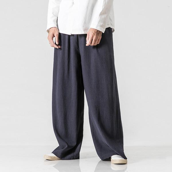 Male Wide Leg Pant Men Elastic Waist Straight Causal Pants Solid Cotton Linen Loose Dancing Trousers