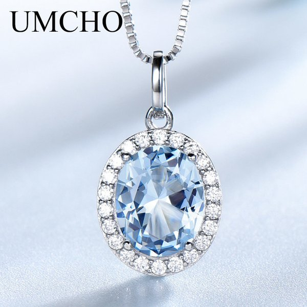 Umcho Sky Blue Topaz Gemstone Pendants Necklaces For Women 925 Sterling Sliver Oval Romantic Wedding Gift Valentine's Jewelry