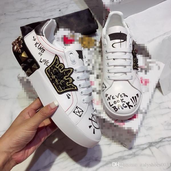 2019 Lüks Moda Tasarımcısı erkek bayan ayakkabı spor ayakkabısı Deri Kadife Siyah Beyaz Kırmızı Düz ayakkabı Platformu Eğitmenler hc180921