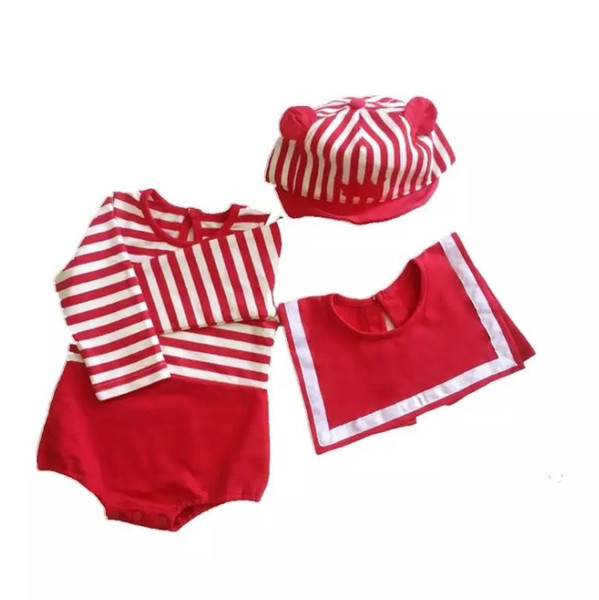 Chirstmas Infant kids romper baby girls stripe long sleeve jumpsuits+square saliva towel 2pcs sets 2019 autumn new baby boy clothes F8603