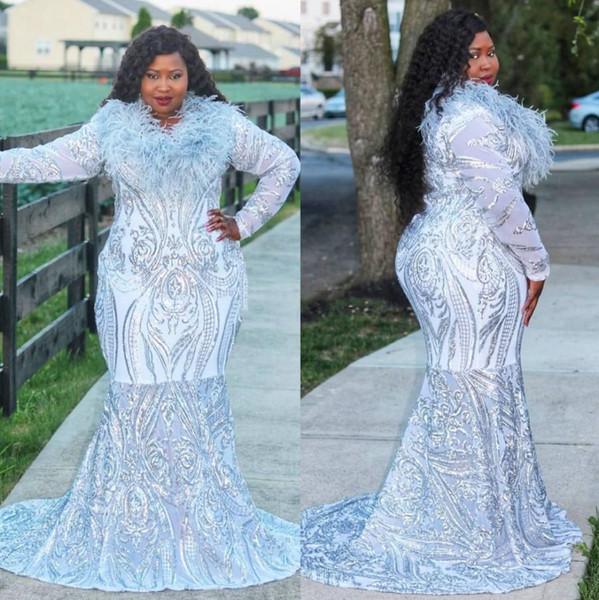 2020 Şık Artı boyutu Mermaid Dantel Gelinlik Modelleri Tüy Mücevher Boyun Uzun Kollu Resmi elbise Sweep Tren payetli Abiye Giyim