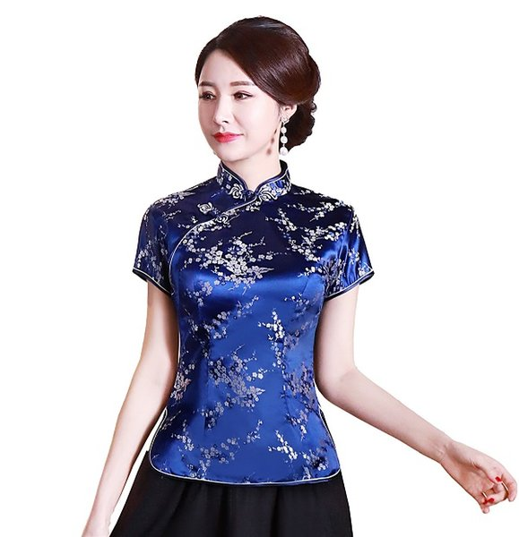 Navy Blue with Floral Embroidery