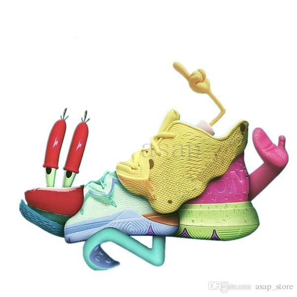 Nuevos zapatos de baloncesto Kyrie 5 5s Esponja amarilla Rosa Patrick Green Squid Hombres Diseñador de alta calidad Mujeres Zapatillas de deporte al aire libre Zapatillas de deporte