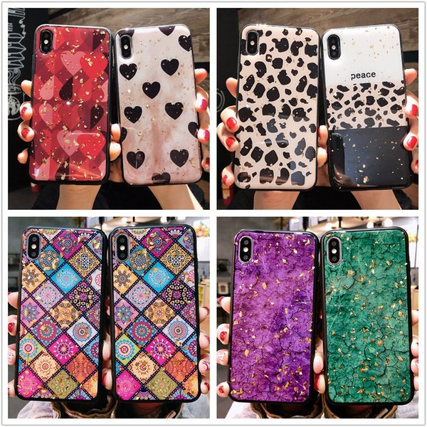 8types fashion leopard marble retro plaid mobile phone case for iphoneX/XS gold foil epoxy love phone protective case iP6/6p/7p8p/XS MAX