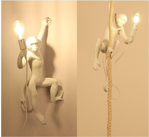 Italian Style Affe Lampe Tischleuchten Leuchte Industrielle Beleuchtung Hanf-Seil-Weinlese-Leuchter Lampadario Moderno Befestigungen