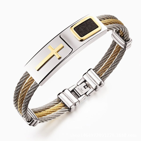 Gold Cross Bracelet for Men 316L Titanium Steel Punk Style Bracelet Cool Three Braided Steel Wire Bracelets Bangles for Street Boy Cool Men