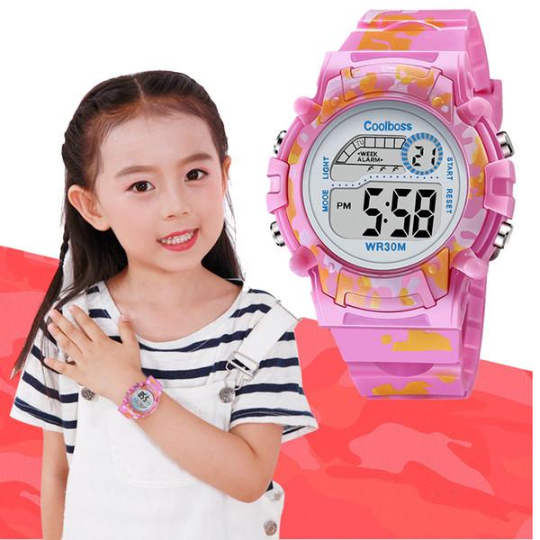 Armbanduhr führte COOLBOSS 2019 Art- und Weiseelektronische Sport-Kind-Uhr-nette Kinderuhr-Jungen-Mädchen-Taktgeber-LED-Digital-Armbanduhr für Jungen-Mädchen