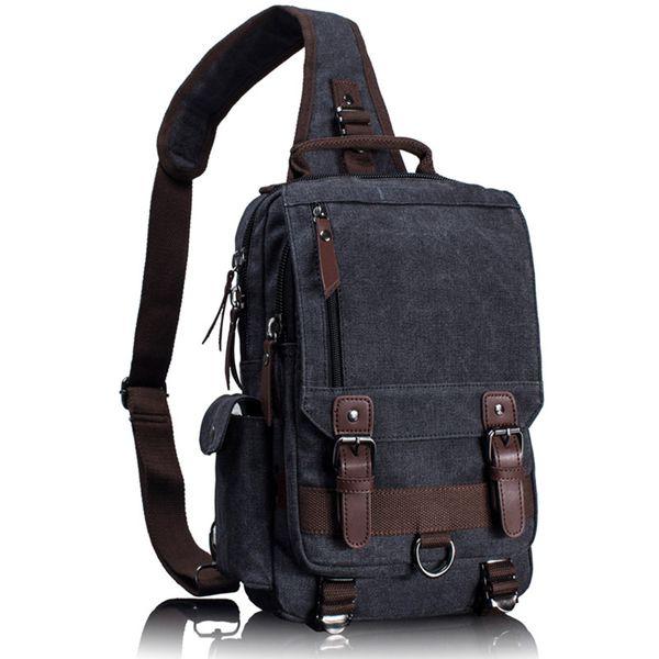 Tourya Canvas Crossbody Bags For Men Women Retro Leather Military Messenger Chest Bag Shoulder Sling Bag Large Capacity Handbag Y19051802