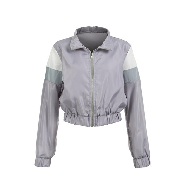 0ec11e586f9 Women Ladies Classic Fashion Vintage Zipper Up Bomber Jacket Biker Outwear  Coat Polyester Casual Crop top