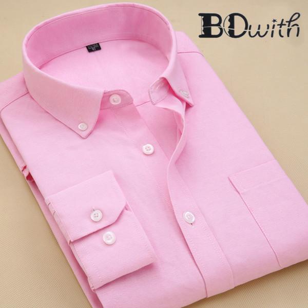Pink Washed Pure Oxford Textile Men Shirt Long Sleeved Shirt Male Social Business Dress Work Men Business Shirts Formal 4XL
