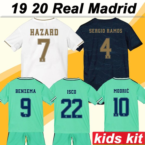 top popular 19 20 Real Madrid Hazard Kids Kit Soccer Jerseys New MODRIC SERGIIO RAMOS KROOS BENZEMA MARCELO ISCO Child Home Away 3rd Football Shirt 2020