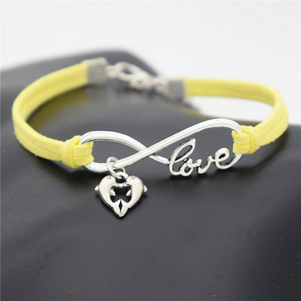 Fashion Couple Infinity Love Double Dolphin Animal Heart Lucky Gifts Weave Yellow Leather Rope Bracelets Unisex Women Men Girls Boys Jewelry