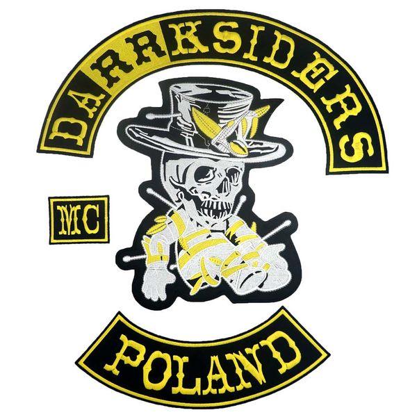 DARRKSIDERS POLONIA grande ferro punk ricamato sul retro stemma biker patch per giacca jeans 4 pezzi / SET