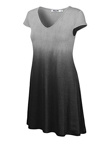 Lock and Love LL Womens Ombre V Neck Cap Sleeve T Shirt Dress - Made in USA
