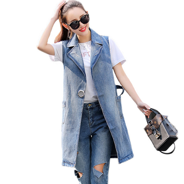 Clobee Bust (100-130cm) S-3XL 2018 Plus Size Summer Jacket Sleeveless Cardigan Ladies Jeans Waistcoats Long Denim Vest Women