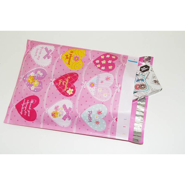 26x33cm 10x13 inch Gift Mailing Packing Bags Pink Heart Pattern Poly Mailers Self Seal Plastic Envelope Bags