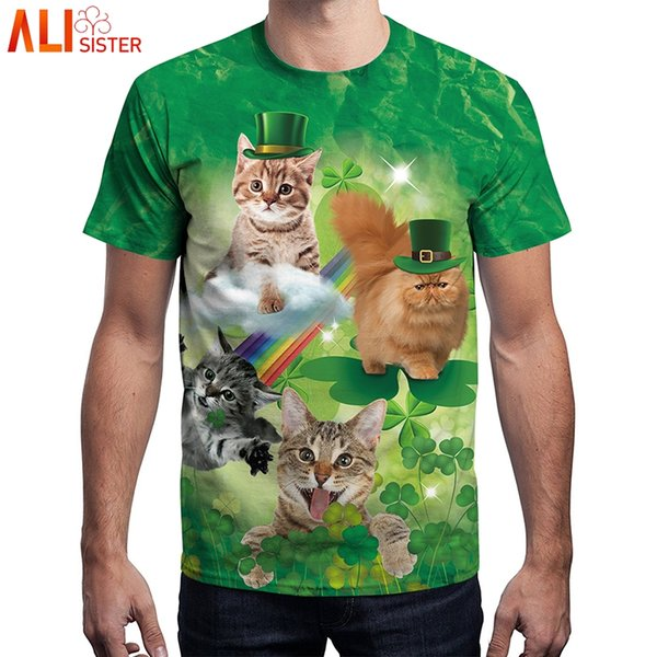 wholesale Cute Cat Print T Shirt Summer Men Women Green Tshirts St.Patrick S Day Tops 3d Clover Hip Hop Unisex Camiseta Mens Tee