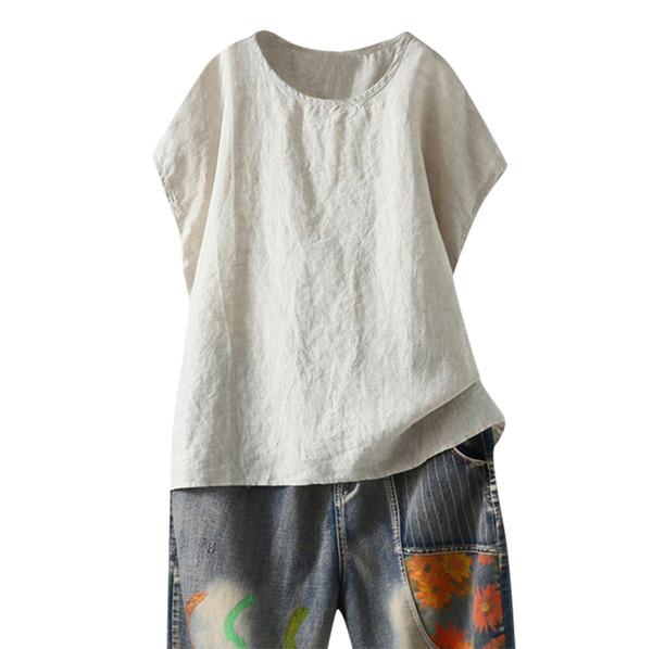 ISHOWTIENDA 2019 Womens 5xl camicetta di grandi dimensioni moda estate o collo solido camicia casual allentato manica corta camicetta top moda mujer
