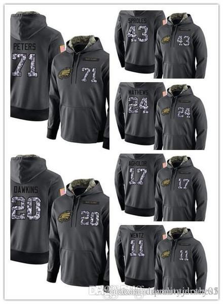 Philadelphia Eagles dos homens equipe cinza escuro almirante camisola com capuz roupas ao ar livre