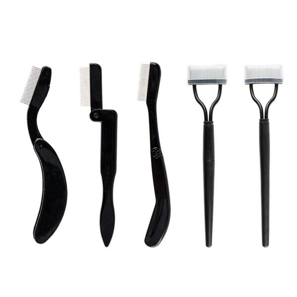 Foldable Stainless Steel Needle Eyebrow Comb Tool Eyelash Curving Plastic Handle Eyebrow Comb Professional Cosmetic Tool RRA2152