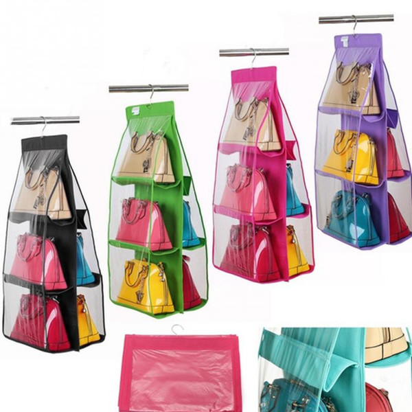 6 Pockets Hanging Storage Bag Purse Handbag Tote Shoes Storage Organizer Rack Hanger Storage Accessories ZHAO