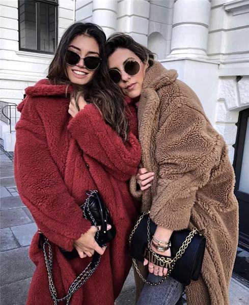Kış Sonbahar Moda Kuzu Yün Ceket Kadınlar Kalınlaşmış Yaka Ceketler Rahat Tek Düğme Uzun Palto Kadın Giyim