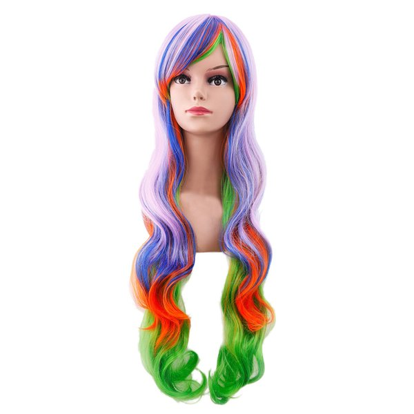 2019 Fashion Women's Sexy Wig Full Bangs Muticolor Wig Long curly hair Styling Cool Temperature for hairstyles professional